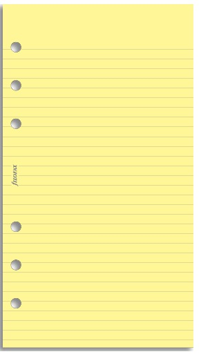 Filofax - Personal Lined Notepaper - Yellow (30 Sheets)