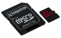 32GB Kingston Canvas React MicroSDHC Card + SD Adapter - Class 10 UHS-I U3 A1
