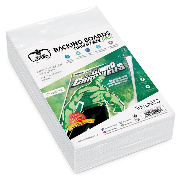 Ultimate Guard: Comic Backing Boards - Thick Current (100-Pack)