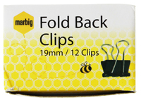 Marbig Fold Back Clip - 19mm (Box of 12)