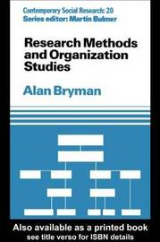 Research Methods and Organization Studies by Alan Bryman image