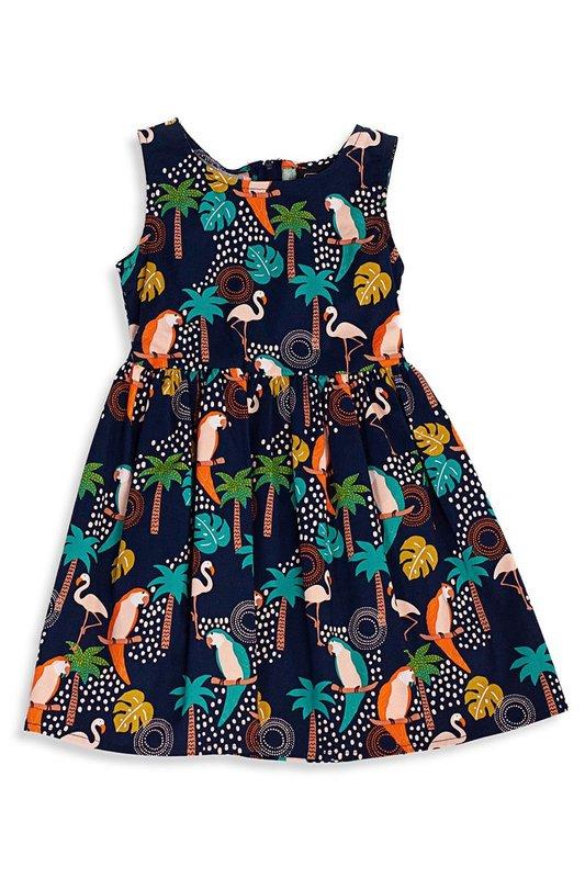 Retrolicious: Tropical Birds Kids Dress - 5-6