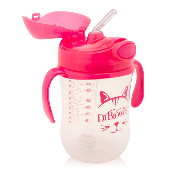 Dr Brown's Baby's First Straw Cup with Handles 270 ml - Pink