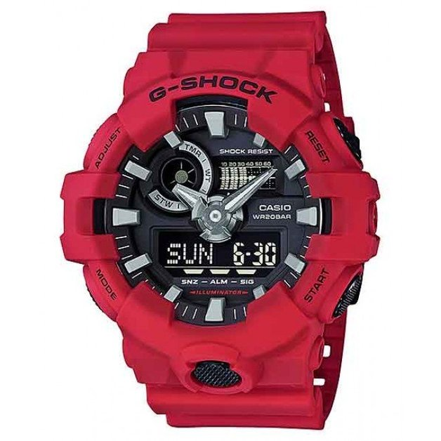 Casio G-Shock Red Analogue/Digital Mens Watch GA700-4A GA-700-4A