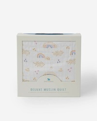 Little Unicorn: Deluxe Muslin Quilt - Rainbows & Raindrops