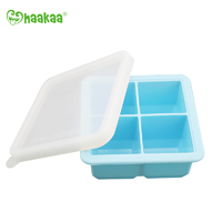 Haakaa: Silicone Baby Food Freezer Tray 4 with Lid - Blue