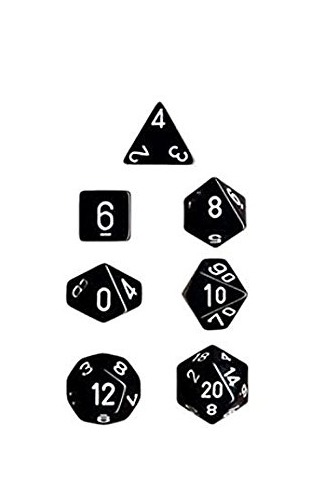 Chessex Opaque Polyhedral Dice Set - Black/White image