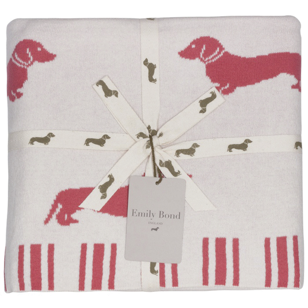 Emily Bond Knit Throw Blanket - Pink Dachshunds