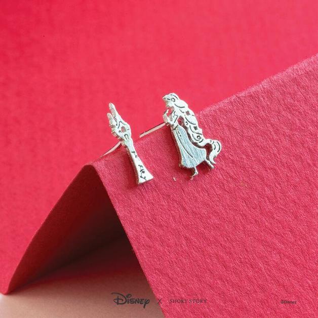 Short Story: Disney Earring Tangled Rapunzel & Tower Silver