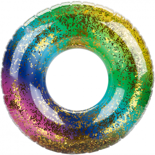 "Wet 'N Wild: Glitter Filled Rainbow Inflatable Swim Ring (24"")"