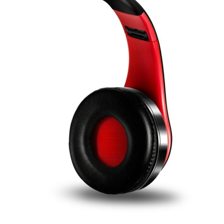 Ape Basics: Portable Wireless Bluetooth Stereo Foldable Headphones- Red image