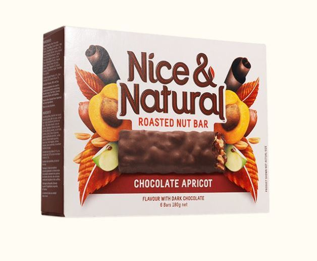 Nice & Natural Roasted Nut Bar - Chocolate Apricot (180g X 8)
