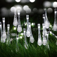 30 LED Solar Water Drop Fairy String Light - White