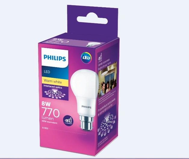 Philips: LED Bulb 8W B22 3000K