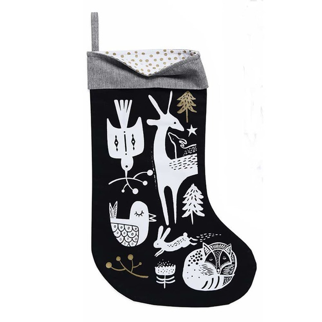 Wee Gallery: Organic Holiday Stocking - White On Black