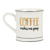 Metallic Monochrome Coffee Makes Me Poop Mug