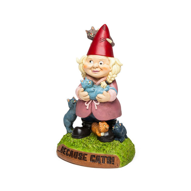 BigMouth – The Crazy Cat Lady Garden Gnome
