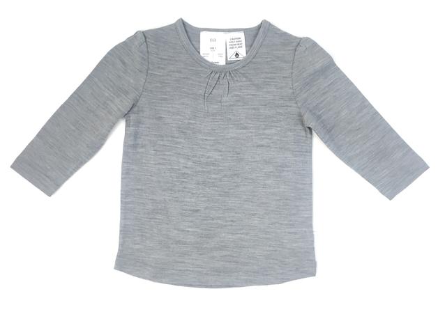 Babu: Merino Ruffle Long Sleeve T-Shirt - Grey (1 Year)