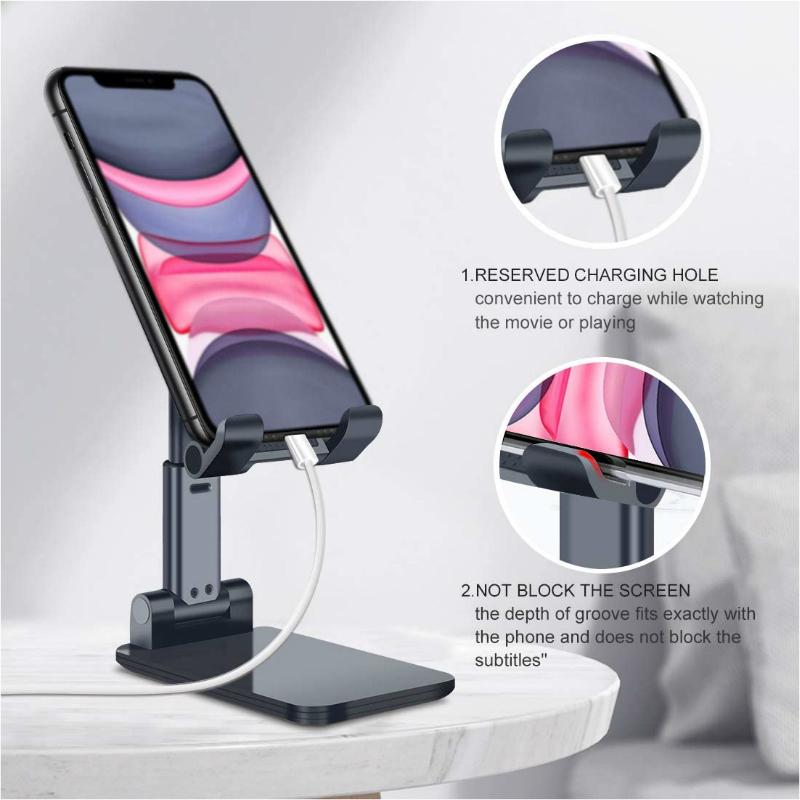 Adjustable Foldable Phone Holder - Black image