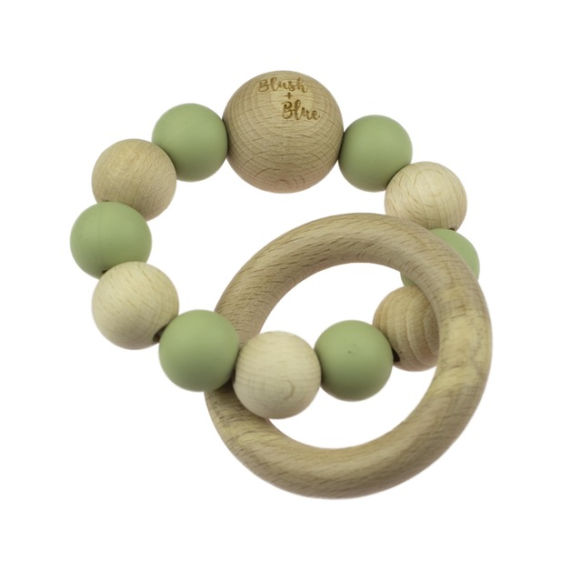 Blush + Blue Duo Rattle Teether - Olive