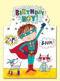 Rachel Ellen: Birthday Boy Super Hero - Greeting Card