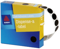 Avery Black 14mm Diameter Circle Dispenser Labels Pkt1050