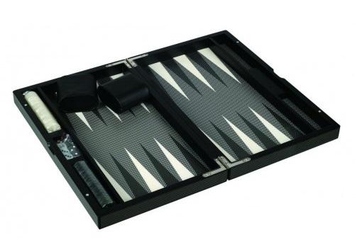 "Dal Rossi: Carbon Fibre Finish - Backgammon Set (18"") image"