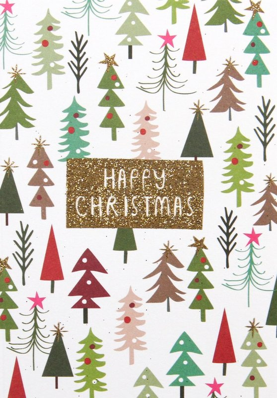 Buy Caroline Gardener Small Card Happy Christmas Trees 5 Pack At Mighty Ape Nz