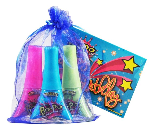 Bo-Po Scented Peel-Off Nail Colour: Birthday Pack - Blue Bag (3 Polish)