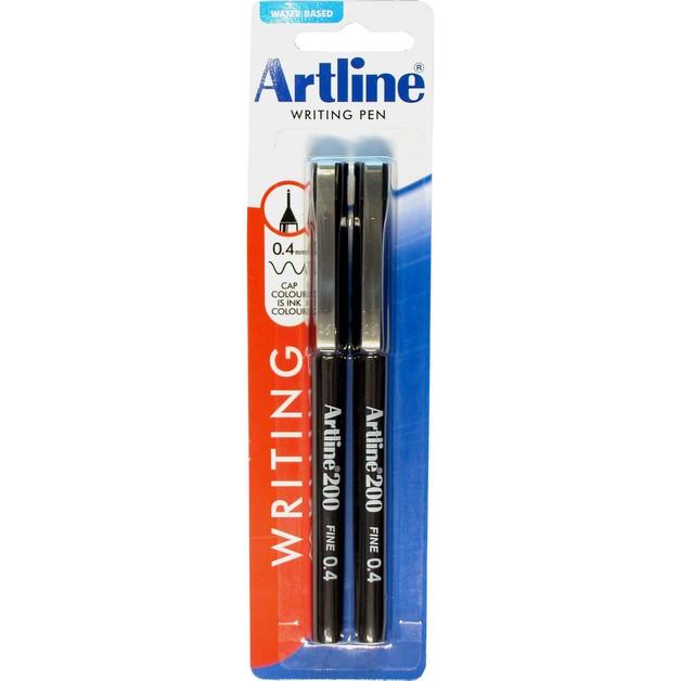 Artline 200 Fineliner Pen 0.4mm Twin Pack Black