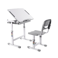 Brateck: Kids Height Adjustable Desk & Chair Set- Grey