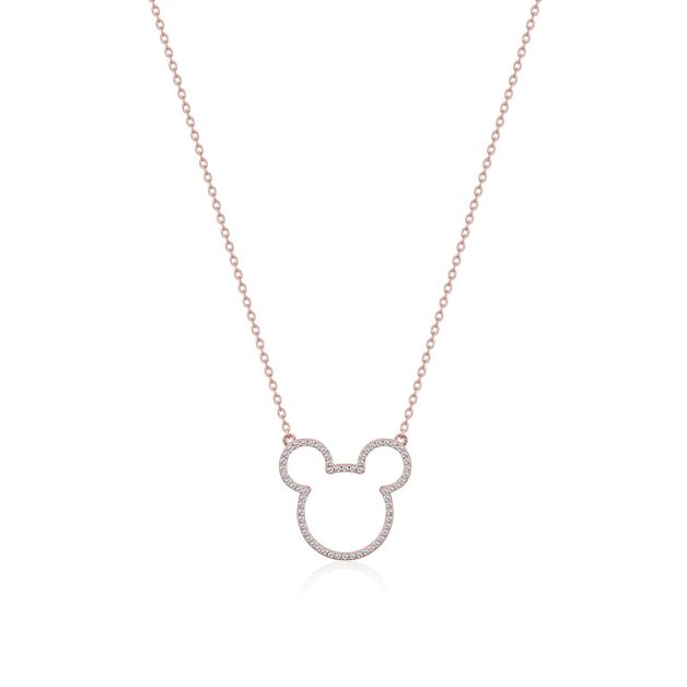 Couture Kingdom: Mickey Mouse Outline Necklace - Rose Gold (Cubic Zirconia)