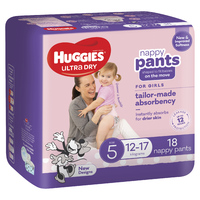 Huggies Ultra Dry Nappy Pants - Size 5 Walker Girl(18)