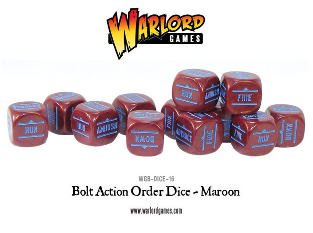 Bolt Action Orders Dice Maroon (12)