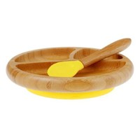 Avanchy Baby Bamboo Stay Put Suction Plate + Spoon - Yellow