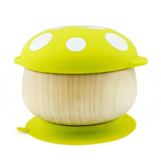 Haakaa: Wooden Mushroom Bowl with Suction Base - Green