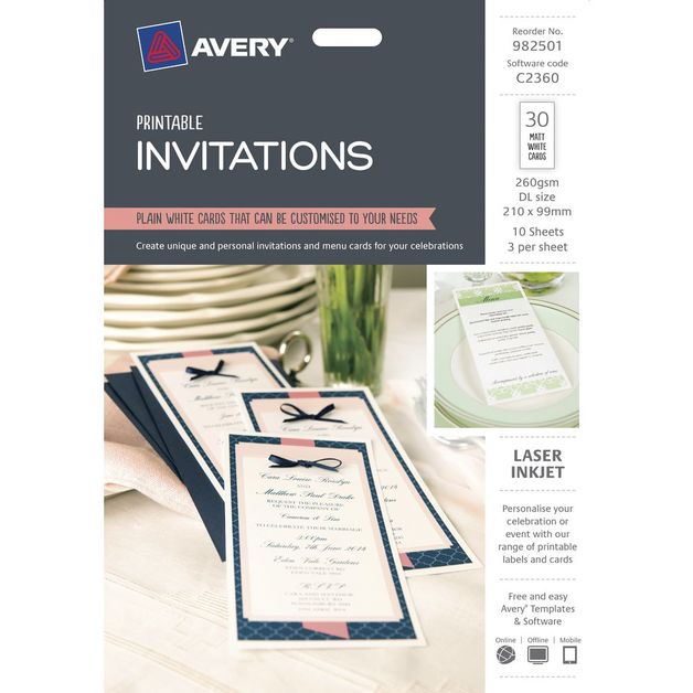 buy avery invitation cards 30 cards at mighty ape australia