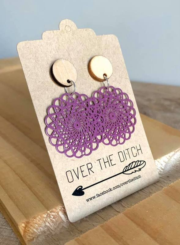 Over the Ditch: Purple Flower Earrings