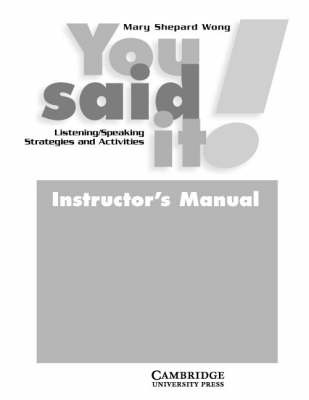 You Said It! Instructor's Manual by Mary Shepard Wong image