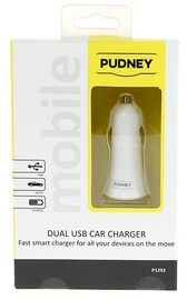 Pudney: Dual USB Car Charger 5V 2.4A/1A - White