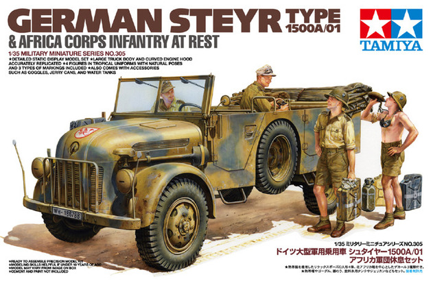 Tamiya German Steyr Type 1500A/01 & Africa Corps Infantry At Rest 1:35 Model Kit