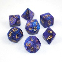 Chessex Signature Polyhedral Dice Set Lustrous Purple/Gold