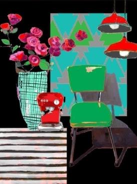 Deeanne Hobbs Canvas Print - Red Coffee Machine (60 x 80cm)