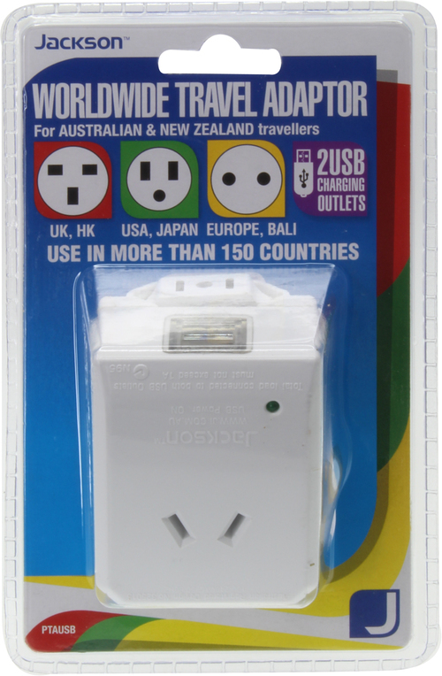 Jackson: Travel Adaptor with USB Charger - Suits Most Countries