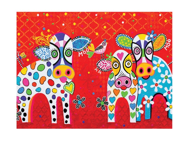 Maxwell & Williams: Love Hearts Tea Towel - Happy Moo Day
