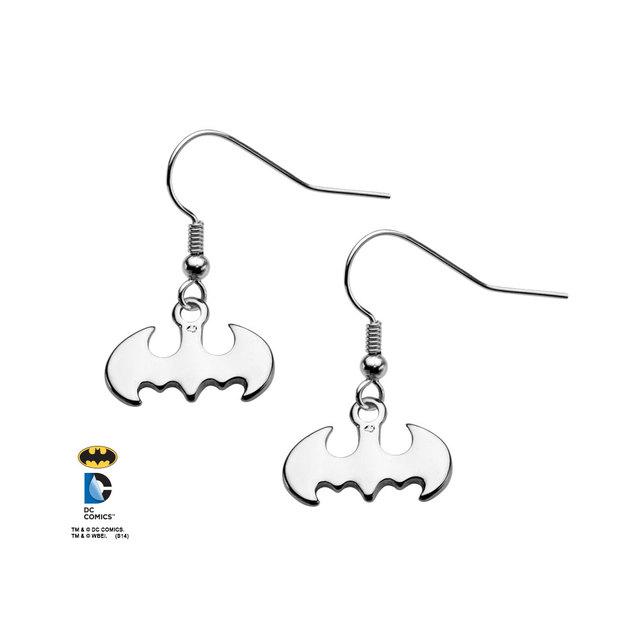 Batman Logo Silver Tone Dangle Hook Earrings