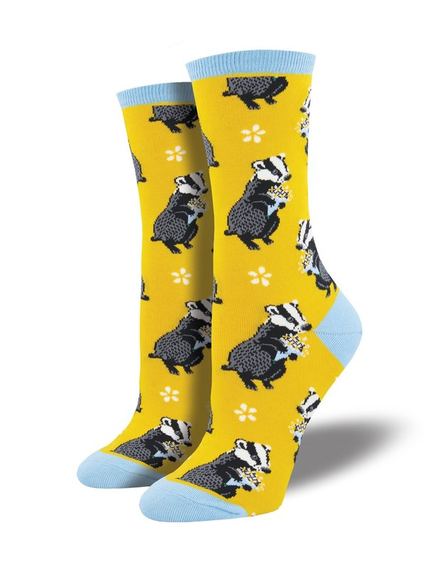 Socksmith: Womens Bashful Badger Crew Socks - Dandelion