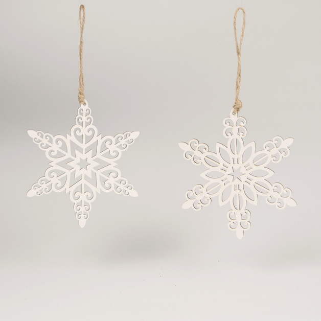 White Ornate Snowflake Hanging Decoration (Assorted)