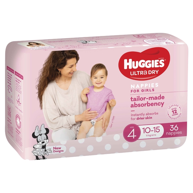 Huggies Ultra Dry Nappies Bulk - Size 4 Toddler Girl (36)
