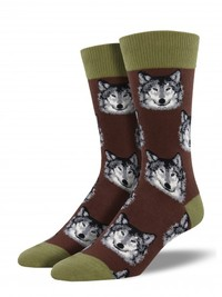 Men's Wolf Crew Socks - Brown